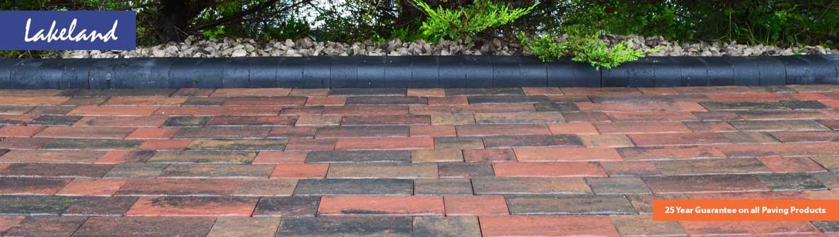Lakeland Windermere Riven Block Paving in Burnt Sunset on driveway in 50mm thickness.